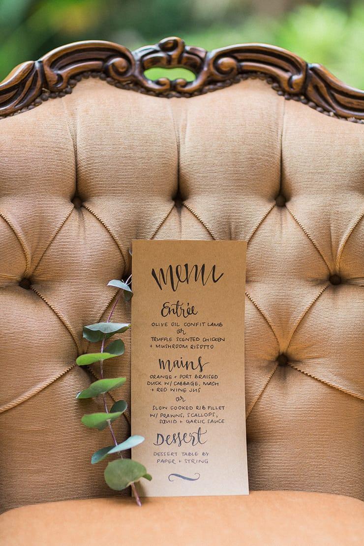Rustic kraft paper menu