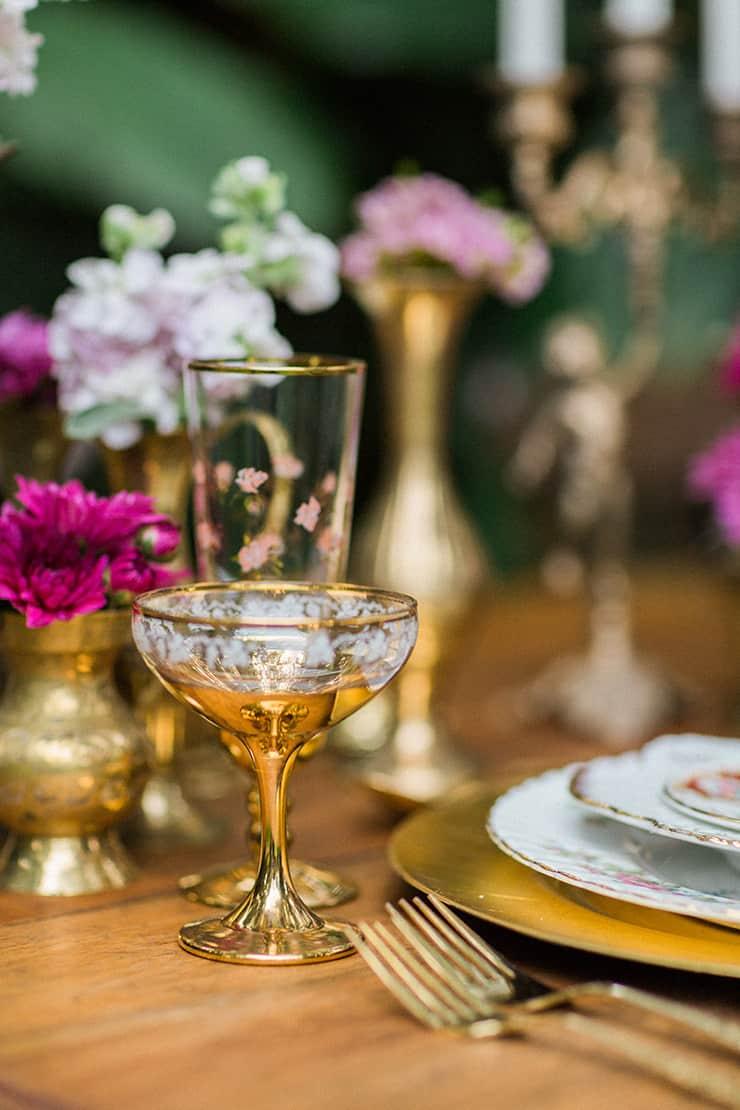 Vintage gold glassware