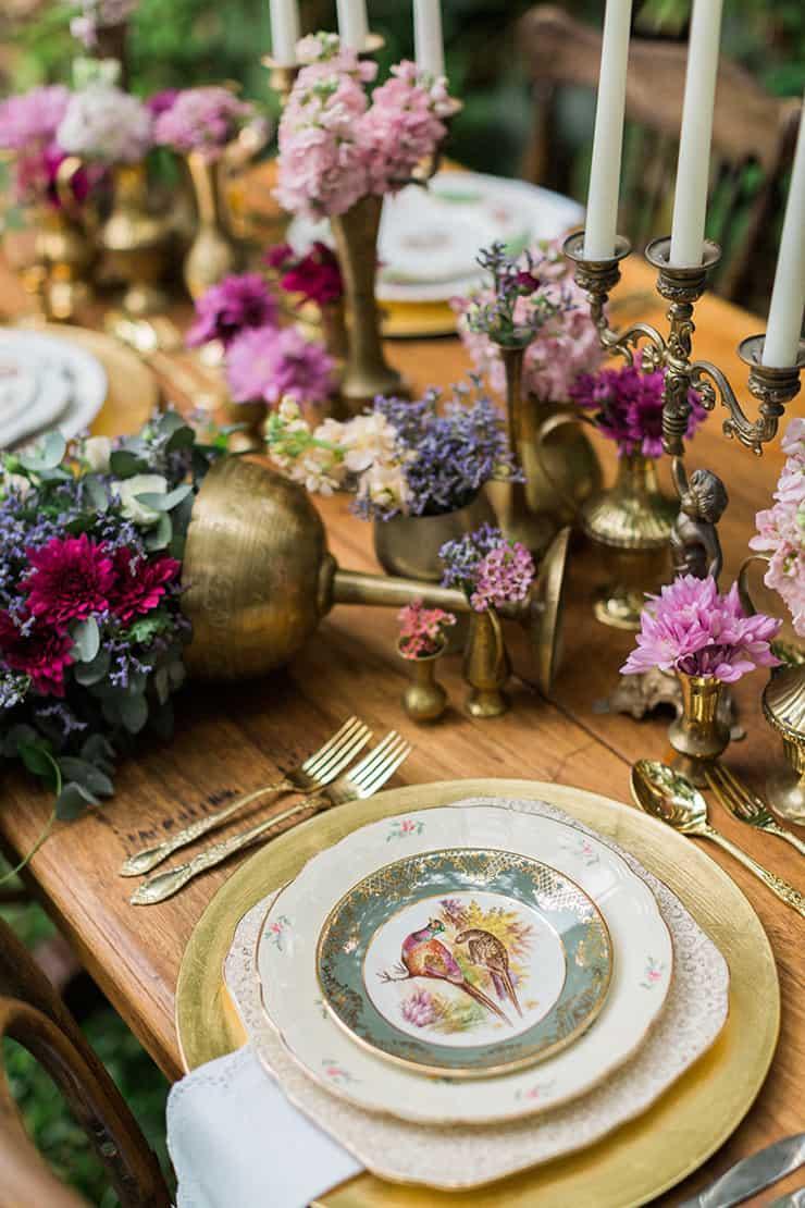 Vintage floral wedding reception table