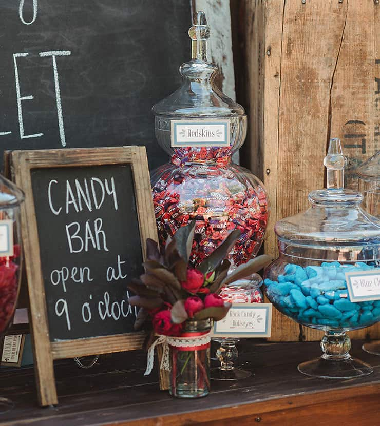 Burgundy and blue candy bar