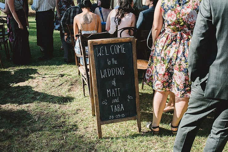 Ceremony chalkboard welcome sign