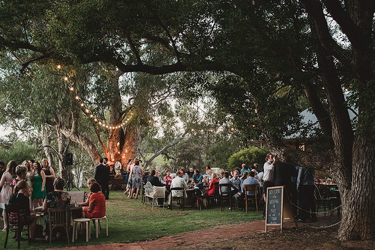 Outdoor wedding reception space