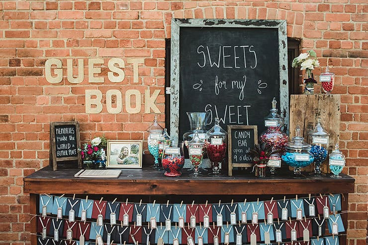 Wedding reception candy bar and guest book station
