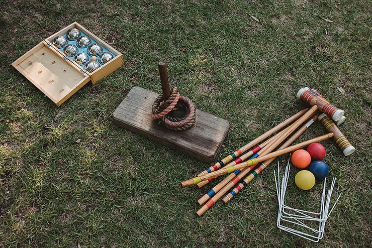 Vintage lawn games for wedding reception
