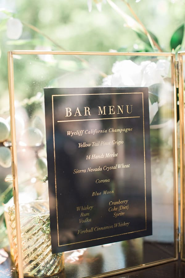 Wedding bar menu in a gold frame | Shannon Rosan via Grey Likes Weddings
