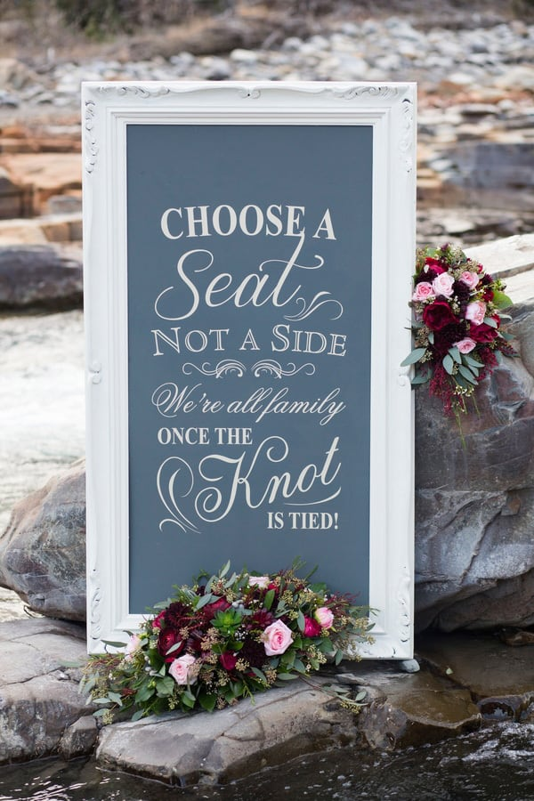 """Wedding ceremony seating sign - """"Choose a seat, not a side, we're all family once the knot is tied!"""" 