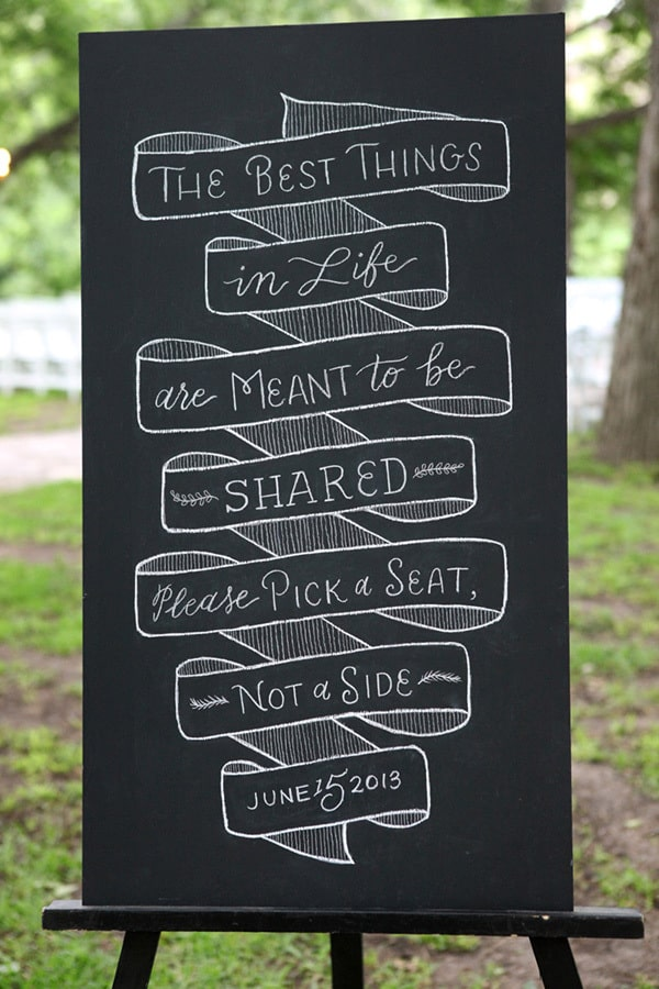 "Wedding ceremony seating sign - ""The best things in life are meant to be shared - please pick a seat, not a side."" 
