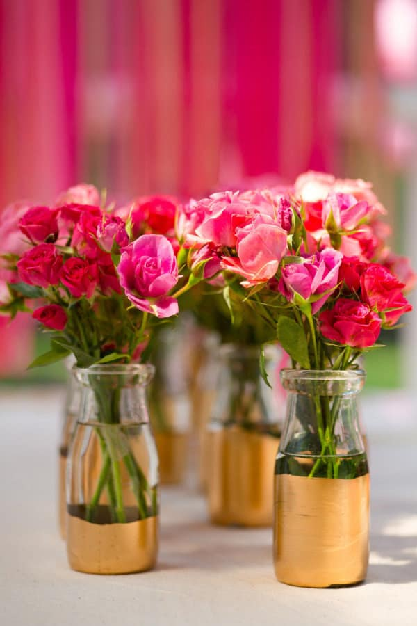 Wedding DIY Tips | Gold Painted Vases via Style Me Pretty