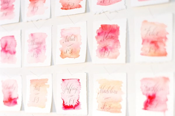 Wedding DIY Tips | Watercolour Escort Cards via OnceWed