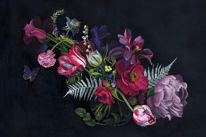 Custom floral wedding stationery artwork in jewel tones | Lindqvist Ink