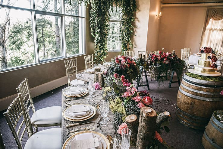 Woodland bridal table decor