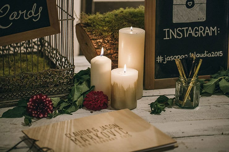Wedding guest book with candles