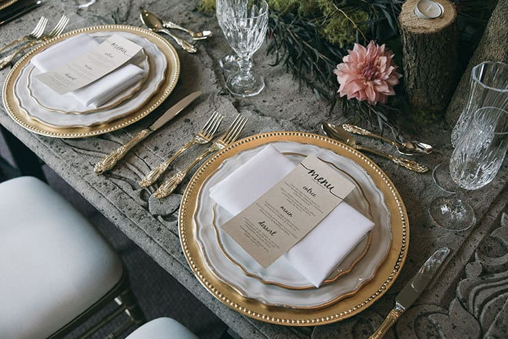 Wedding reception table place setting