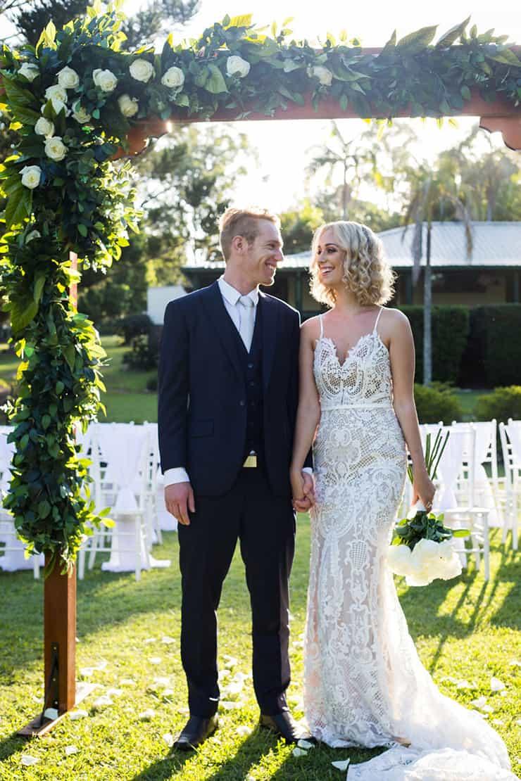 Elegant Garden Wedding Inspiration In White Gold And