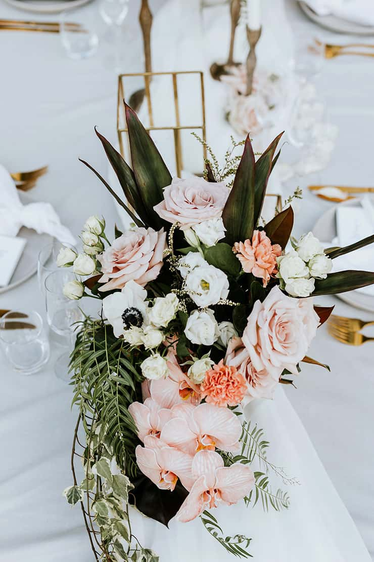 Boho peach wedding reception centrepiece | My Little Love