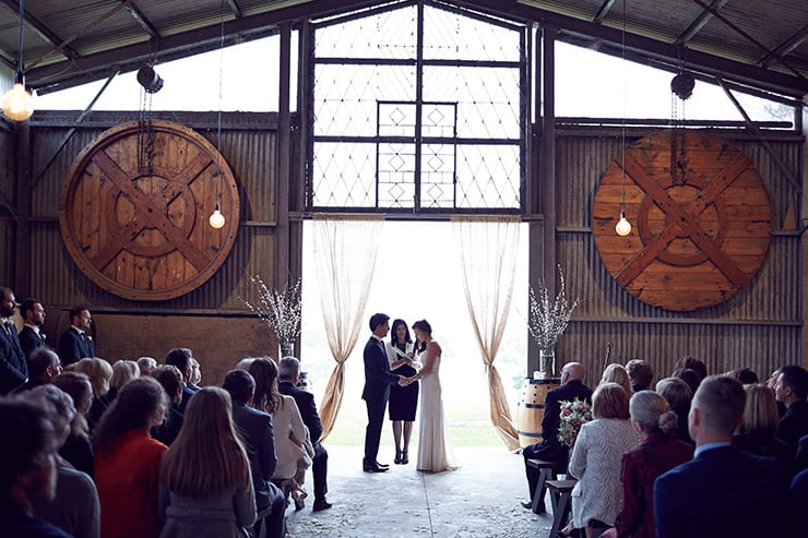 Winter-Barn-Wedding-Ceremony-Bride-Groom-3