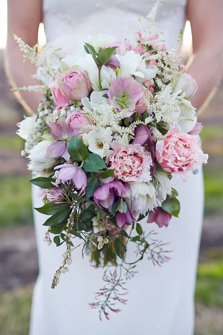Winter-Barn-Wedding-Pink-White-Bride-Bouquet